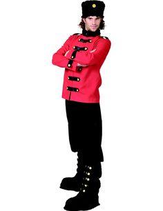 Déguisement russe homme : Ce déguisement de russe pour homme se compose d'une veste, d'un pantalon, d'un chapeau et d'une paire de sur-bottes. La veste à manches longues est rouge avec un faux...