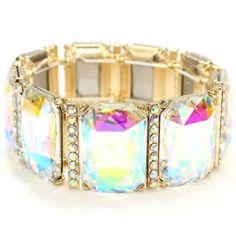 Gold AB Rectangle Crystal Stretch Bracelet Elegant Prom Jewelry