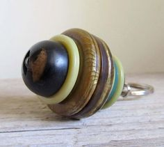 Vintage Stacked Buttons Key Ring  Mint Chocolate Chip by cattales, $10.00