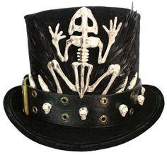 26334b5628f76 Tall Black Top Hat Witch Doctor Voodoo Skull Gothic Steampunk Victorian  Gentleman Mens