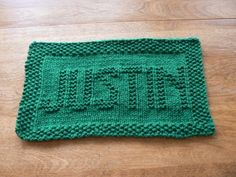 Custom Personalized Handknit Washcloth.   How cool is this?   Justin a Personalized Hand Knit Dishcloth or Washcloth  $4.25