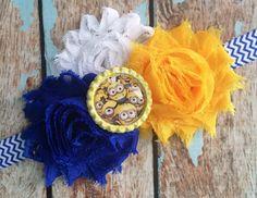 Despicable Me MINIONS Shabby flower headband hair bow