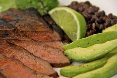Carne Asada w/ Chorizo Black Beans & Honey-Lime Avocados - thecafesucrefarine.com