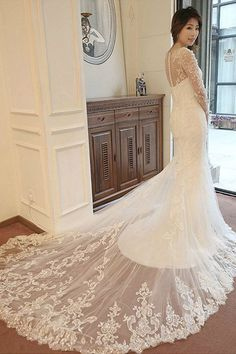 Outlet Beautiful Mermaid Wedding Dresses Mermaid Long Sleeves Court Train Wedding Dresses With Beading Bridesmaid Dresses 2018, Wedding Dresses 2018, Colored Wedding Dresses, Cheap Wedding Dress, Designer Wedding Dresses, Prom Dresses, Gorgeous Wedding Dress, Beautiful Dresses, Mermaid Dresses