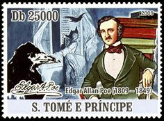 São Tomé E Príncipe, 2009. Literary Stamps: Edgar Allan Poe (1809-1849) Officially the Democratic Republic of São Tomé and Príncipe, it is a Portuguese-speaking island nation in the Gulf of Guinea, off the western equatorial coast of Central Africa.