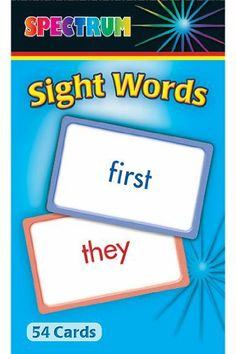 Carson Dellosa CD-734003 Spectrum Flash Cards Sight Words by CARSON DELLOSA. $2.95. Spectrum(R) Sight Words Flash Cards offer children a fun and easy way to practice over 100 basic words most frequently used by beginning readers. Featuring 54 cards that include activities to strengthen phonics, letter recognition, and reading readiness skills with full-color illustrations. A special card also offers creative game ideas designed to reinforce learning.The popular Spe...
