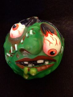 """Slobulus, a freakish and green-skinned ghoul with stitches, popped-out eyes, and glowing drool who was one of the original orbs from the """"Madballs"""" 1980s Toys, Halcyon Days, Old Toys, Jelly Beans, Toy Store, Balls, Stitches, Projects To Try, Youth"""