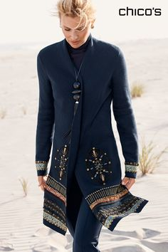 Detailed to delight. It takes more than six hours to embellish each Elektra Cardigan with jacquard ribbons, golden charms and over 1,300 beads. But, we think it's time well spent because the end result is an artisanal long cardigan that's so fabulous, it can transform a layered look at the beach (hello, Hamptons) or instantly dress up jeans for a night at the theater. It's that versatile. Shop the Collection