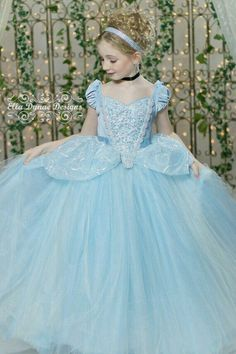 Cinderella Disney Inspired Princess Gown Tutu Costume Dress by Ella Dynae… Cinderella Gowns, Disney Princess Dresses, Princess Costumes, Cinderella Disney, Cinderella Costume Kids, Cinderella Princess, Princess Dress Kids, Princess Wedding, Robes Disney