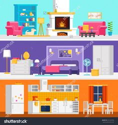 Three colorful flat rooms vector illustrations to infographic and banner design. Living room bedroom kitchen with interior design and furniture vector flat. Layout Design, Banner Design, Home Decor Kitchen, Kitchen Design, Kitchen Stuff, Kitchen Drawing, Ikea, Flat Design Illustration, Modern Kitchen Cabinets