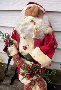 """""""Believe"""" Santa stump doll. Contact for price and ordering information. Original folk art by Meadow Fork Primitives"""