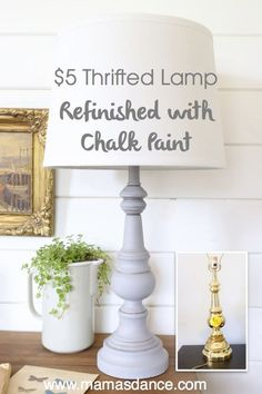 Refinish an inexpensive lamp with chalk paint . Refinish an inexpensive lamp with chalk paint Refinished Table, Refurbished Furniture, Rustic Furniture, Furniture Makeover, Diy Furniture, Furniture Stores, Bedroom Furniture, Furniture Outlet, White Furniture