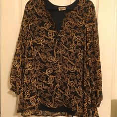 Show Me Your MuMu Goldie Guild Jamie Tunic No marked size, but fits like a Medium. Would fit S-L. Worn once, excellent condition. 100% poly chiffon & it's lined. *Just dry cleaned & ready to be worn!* Show Me Your MuMu Tops Tunics