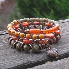 Autumn Colors III Memory Wire Bracelet by BlooMoonJewelry, $38.00