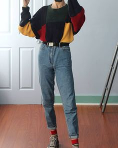 (my photos) comment an unpopular opinion the sweater is from depop and jeans are from :) 80s Fashion, Fashion 2017, Look Fashion, Fashion Outfits, Womens Fashion, Grunge Outfits, Casual Outfits, Cute Outfits, Hot Topic Clothes