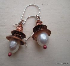 Fresh water white pearl and copper dangle space age earrings by JanEOjewelry