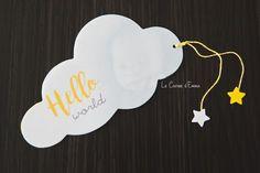 Son faire part de naissance (oui oui un an en retard) - Le Carnet d'Emma grossesse, papeterie, happiness moment, naissance, nuage, petit garçon, baby, bébé Faire Part Nature, Oui Oui, Place Card Holders, Scrapbook, Invitations, Non Non, Moment, Happiness, Graphic Design