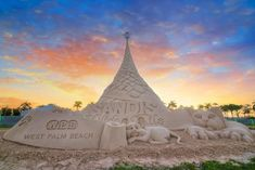 Each year, this 35-foot sculpted sand Christmas tree makes its debut, in the tropical holiday paradise known as Sandi Land.