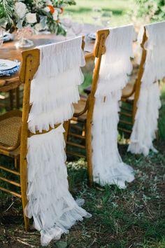 ruffled chair covers   Sarah McKenzie #wedding