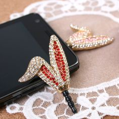 Big Crystal Vivid Bunny Dust Plug Cellphone Charm iPhone Accessories  (Choose 1 color). $21.50, via Etsy.