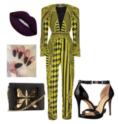 Black and yellow by staciapandalover on Polyvore featuring polyvore, fashion, style, Balmain, MICHAEL Michael Kors, Gucci, Lime Crime and clothing
