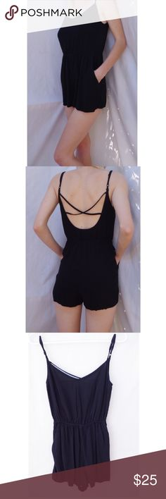 Black Criss Cross Romper One Piece with Pockets No tag, brand and size unknown. Fits XS/S/M. Adjustable straps. One piece romper super comfortable! Black. Good condition light wear no significant flaws. Criss cross in back scoopneck in front. Pockets on both sides. FREE SURPRISE GIFT WITH EVERY ORDER! Fast shipping! Price negotiable! Selling for $20 elsewhere! Vintage Dresses