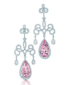 Tiffany earrings with pear-shaped morganites and diamonds in platinum, from the 2013 Blue Book Collection.