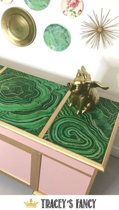 Gorgeous Green Malachite Desk Makeover by Tracey's Fancy