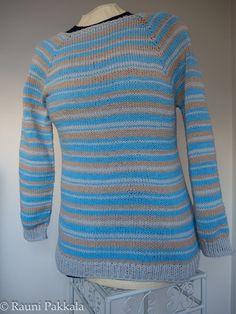 Knitted basic top-down sweater, Novita Miami, used random stripe generator for this http://www.biscuitsandjam.com/stripe_maker.php