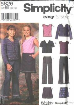 Simplicity Sewing Pattern 5826 Girls Plus Size 8½-16½ Easy Wardrobe Skirt Jacket Knit Top Jacket