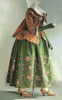 historicalfashion:  Pet en l'air jacket (c. 1775) and embroidered petticoat (c. 1720), KCI