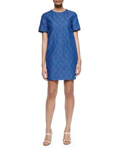 short-sleeve quilted chambray dress, darkest blue by kate spade new york at Neiman Marcus. Exposed back zip.