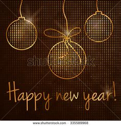 "Background for your design ""Happy new year"" . Vector illustration of golden like mosaic flickering round."