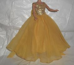 Halina's Fashion of Chicago Barbie Clone Goldtone Sheer Gown w/Bow #HalinasofChicago