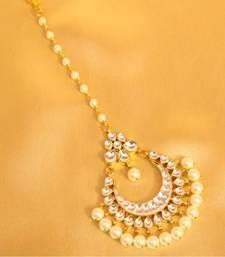 Buy Beautiful patten kundan pearl maang tikka maang-tikka online