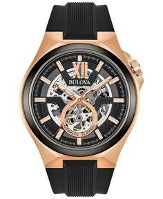 5279d66b166 Bulova Men s Automatic Black Silicone Strap Watch 46mm 98A177 Relogio  Bulova Masculino