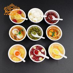 1:12 dollhouse miniature model of the food A bowl of noodles dumplings porridge desserts 9pcs Free Shipping