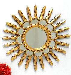 "14""1/2"" Round Mirror,Decorative Wall Mirror,Sunburst Mirror,Sun Mirror,Ornate Sunburst Mirror,Sunburst Wall Art,GoldSun M irror,Sun Wall Art by GoldLeafGirl on Etsy https://www.etsy.com/listing/200190317/1412-round-mirrordecorative-wall"