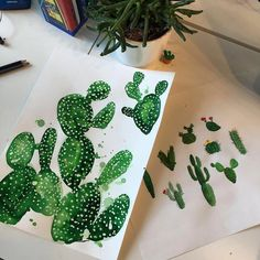Monday Morning in the studio ! #cactusart #illustration #camillafrancesprints #cactus #prints by camillafrancesprints