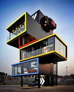 Mini Experience Centre in China is part of Container architecture - Container Architecture, Cantilever Architecture, Container Buildings, Contemporary Architecture, Architecture Design, China Architecture, Architecture Today, Landscape Architecture, Landscape Design