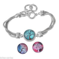 1 PC Snap Button Circular Dome Cameo Cabochon Tree Of Lfe Bracelets DIY 26cm