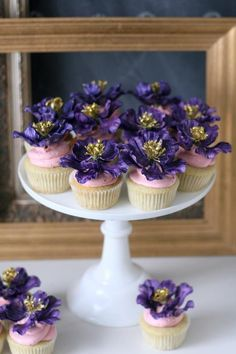 Purple and Gold Floral Cupcakes