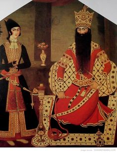 Fath Ali Shah with WaterPipe, by Mehr-Ali -