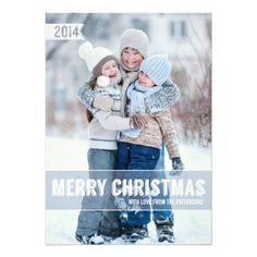 Bold Modern Merry Christmas Big Photo Card Invite
