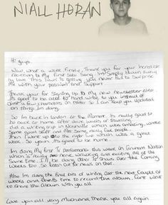 Niall wrote us a letter. Sweetie!
