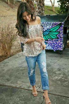 Glittery top and boyfriend jeans