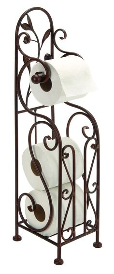 63149 AMBHome Metal Toilet Paper Holder For Bathroom Toilet Furnishing. Designer Metal Toilet Paper Holder With Magazine Rack. Toilet Paper Holder Made From Solid Cold Cast Metal In Antiqued Metal Finish. Toilet Paper Stand Has Storage Pace For Extra Tis Free Standing Toilet Paper Holder, Toilet Paper Stand, Bathroom Toilet Paper Holders, Room Furniture Design, Iron Furniture, Accent Furniture, Toilette Design, Wrought Iron Decor, Bronze Bathroom