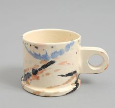 SHORT MULT-SPLATTERED MUG WITH CIRCLE HANDLE :: HICKOREE'S