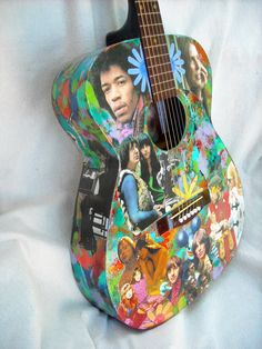 Custom Decoupaged Guitar     Playable  Art  by lauriescustomthingz, $250.00 . you can decoupage an old guitar, any artists you want