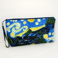 Starry Night Large Zipper Pouch Knitting Zippered by OceanPatch
